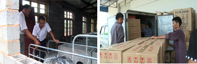 Left: Mr. Wang learns about sow stalls;  Right: Mr. Bin and a worker load milk for the next day's delivery